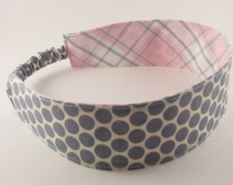 Fabric Headband, Wide Headband, Reversible Headband, Girl Headband, Women's Headband, Cotton Headband, Gray Pink Headband, Graduation Gift