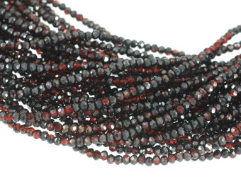 """2x3mm Crystal Rondelles - Dark Siam Satin Red with Silvery Satin Topcoat - Full 16"""" Strand About 173 2mm Small Roundel Beads"""