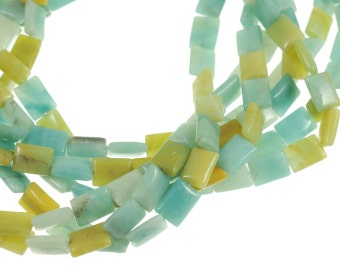 "Amazonite 10x15mm Flat Rectangular Gemstone Beads - Full 16"" Strand - About 27 Beads - Soft Blue & Tan Colors"