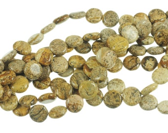 """Picture Jasper 10mm Flat Coin Gemstone Beads - Full 16"""" Strand - About 39 Beads - Natural Stones"""