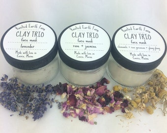 Clay Trio Herbal Face Mask - Clay Mask - Herbal Mask - Organic Mask - Natural Face Mask - Acne Treatment - Facial Mask - Pore Cleanser