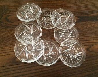 CUT CRYSTAL PINWHEEL & Star Coasters - 12 Sided