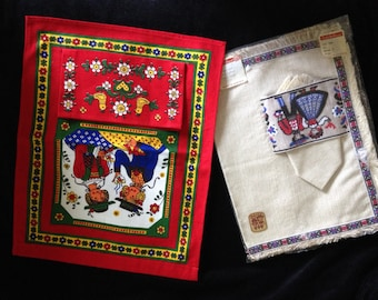 Austrian Placemat and Napkin Set and Austrian Wall Hanging with Pocket