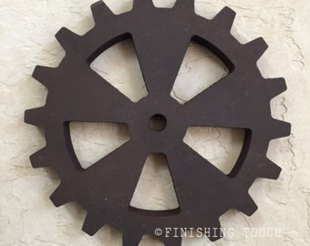 Medium Industrial Style- Style 5- Wood Gear Steampunk Sprocket Mechanical Decor Wall hanging Vintage Rustic Wheel Panel Factory Molds