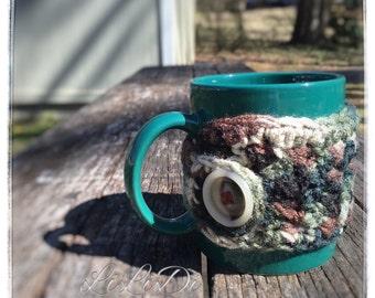 CLEARANCE Crochet Mug Cozy, Cup Cozy, Cozies, Camouflage  Mug