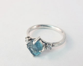 Rough Aquamarine and Diamond Engagement Ring
