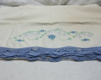 Vintage White Pillow Case with Blue Embroidery and Crochet Trim, T