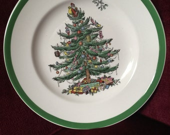English Country Spode Christmas Tree Holiday Salad Dessert plate