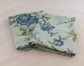 Vintage Blue Flowered Pillowcases
