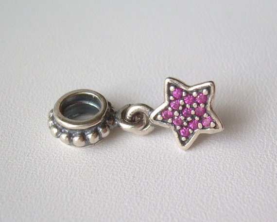 Pandora pave star purple or red celestial by cougarcovejewelry for Star hallmark on jewelry