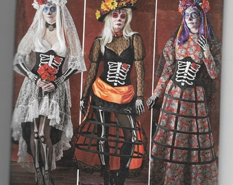 1033 Simplicity Day of the Dead Costume Sewing Pattern Sizes 14-16-18-20-22