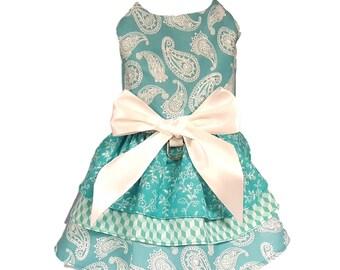 Dog Dress, Dog Clothing, Dog Wedding Dress, Pet Clothing, Dog Attire, Pet Dress - Blue Paisley