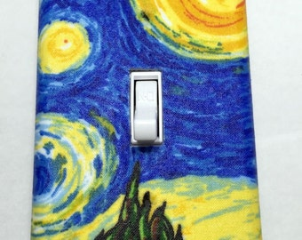 Van Gogh Starry Night Light Switch Plate Cover / Outlet Cover / Famous Artists / Home Decor / Impressionist / Renaissance / Country Side