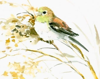 Willow Finch original watercolor painting 12 x 9 in