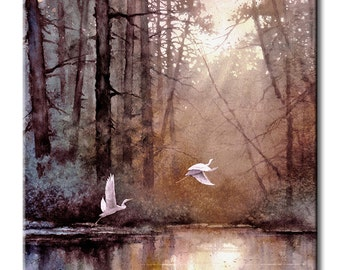 White Egrets Flying West Art Tile Print on Ceramic with Hook or with Feet Indoor Use -Nature, Birds