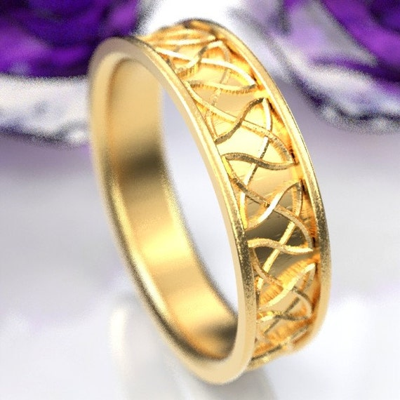 Gold Celtic Wedding Ring With Dara Knotwork Design in 10K 14K 18K or Palladium, Made in Your Size Cr-330