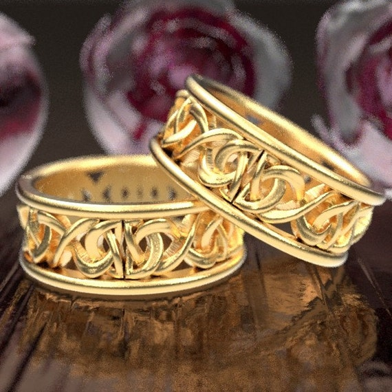 Gold Wedding Ring Set, His and Hers Wedding Rings With Celtic Knot, Celtic Wedding Bands His and Hers, 10K 14K or 18K Gold 5008