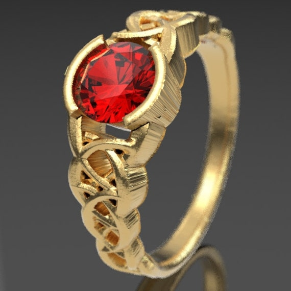 Gold Celtic Wedding Ring With Ruby and Dara Knotwork Design in 10K 14K 18K or Palladium, Made in Your Size Cr-430