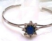 35% OFF April-May Sale Costume Blue Star Sapphire Cuff Bracelet with Rhinestones