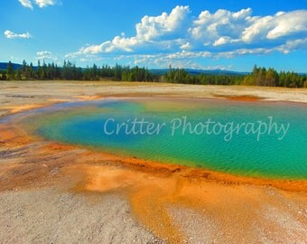 Grand Prismatic Spring Turquoise Pool-Colorful Rainbow Hot Spring, Yellowstone National Park Keep Sake, Nature Water Photograph 8 x 10 Print