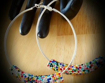 Multi Colored Crystal Beaded Hoop Earrings-Colors (MEDIUM SIZE ) 3.14 inches
