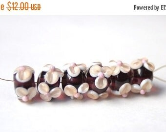 ON SALE 6 pcs Handmade Glass Lampwork Beads - Pink Amethyst.