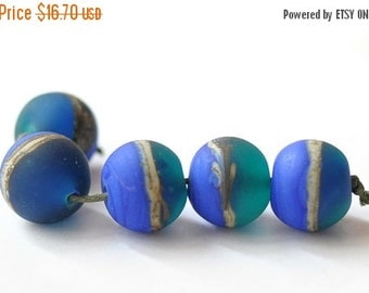 ON SALE Handmade Glass Lampwork Beads - Blue Green Organic Ivory Matted