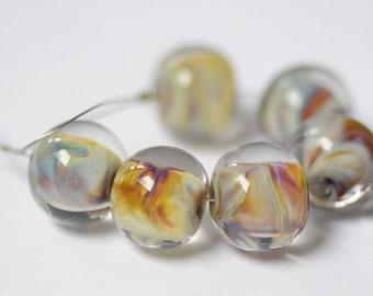 lampwork beads Lampwork Bead glass beads jewelry supplies handmade lampwork - 6 pcs Glass Lampwork Beads Set jewelry making flamework