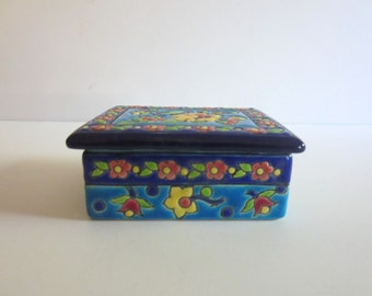 1920s French Longwy Porcelain Small Box Rectangular WIth Lid