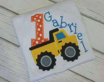 Dump truck birthday . Embroidered shirt