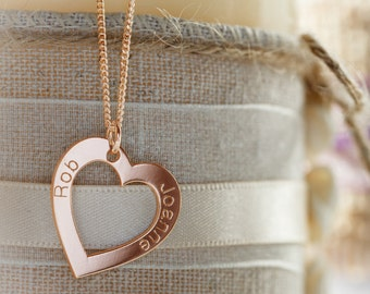 Personalised Valentines Gift Two Names Rose Gold Plated Heart Necklace Pendant & Chain Option - Engraved Gift Idea for Girlfriend Her Women