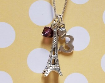 13th Birthday Birthstone Jewelry Paris Inspired Eiffel Tower Necklace Sterling Silver