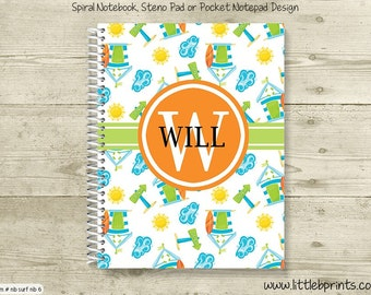 Beach Fun Personalized Monogram Spiral Notebook Back to School Notebook