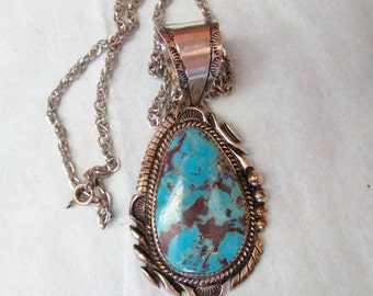 Native American Made PENDANTLarge STERLING TURQUOISE