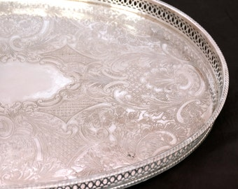 Vintage Silver Plated Gallery Tray, Sheffield Silver Tray, Chased Oval Silver Serving Tray, Large Silver Butlers Tray, Coffee Table Tray