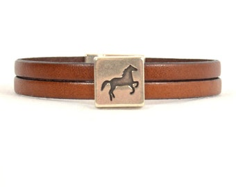Double Strand Saddle Tan Leather Horse Bracelet with Antique Silver Magnetic Clasp  (5-172)