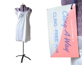 White Slip, 36 Slip, Vintage Slip, Full Slip, Lace Slip, 1950s Slip, 50s Slip, 1950s Lingerie, Deadstock Lingerie, Vintage Lingerie