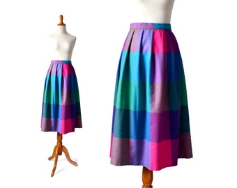 Plaid Skirt, Rainbow Skirt, Wool Skirt Purple Skirt, Modest Skirt, Unique Skirt, Womens Skirt, Vintage Skirt, Pink Skirt,