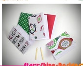 Sale 25% Off BJD Doll Props - 5 Christmas Notebook and Pencil Set - 2 Sizes