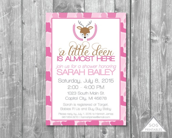 baby shower printable invitation pink camouflage baby shower girl