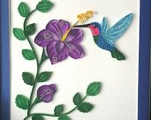 Quilled Hummingbird art gift | flower art print | Hummingbird decor | Hibiscus art | Hummingbird wall art | flower artwork | Hummingbird