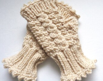 Hand Knit Fingerless Gloves, Women's Wrist Warmers, Cream Texting Gloves with Cable Accent, Hand Made Mittens, Gifts for Women, Hand Warmers