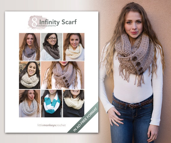 Infinity Scarf Crochet Patterns - 8 Pattern E-Book by Little Monkeys Crochet  |  infinity scarf crochet pdf patterns, instant download pdfs