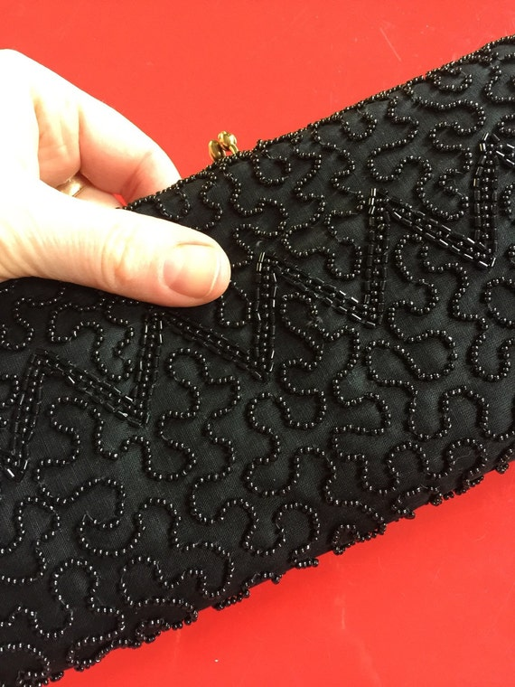 1950s clutch bag black beaded purse long gold butterfly clip 50s glam evening prom goth girl pin up