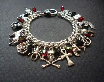 Gothic Vampire Charm bracelet ~ Vampire bracelet ~ Macabre jewelry ~ Horror bracelet