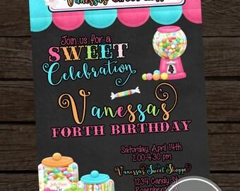 PRINTABLE- Candy Shoppe Girl Birthday Invitation- YOU PRINT
