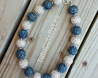 Blue and Silver Chunky Bead Necklace