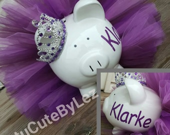 Large Personalized Purple Tutu Piggy Bank