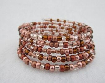 Pink Bracelet, Pink Beads, Memory Wire Bracelet, Pink Jewelry, Brown Bracelet, Copper Jewelry