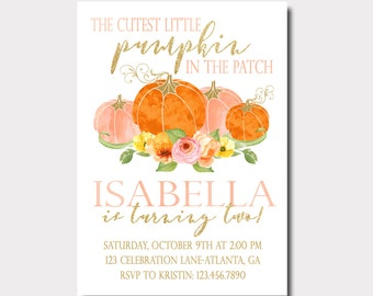 Pumpkin Birthday Invitation   Our Little Pumpkin   Fall Birthday Invitation   Floral Birthday Invitation   Pink and Gold Invitation